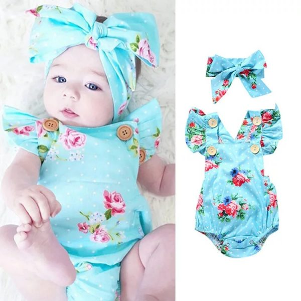 Girls Romper and Headband Set