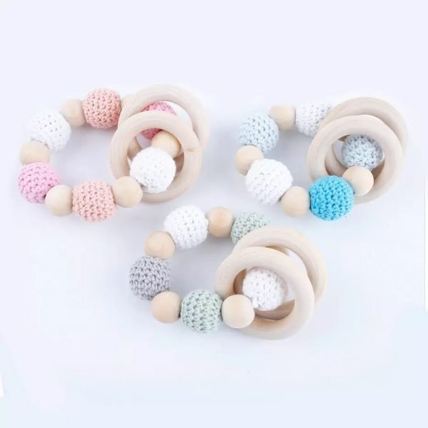 Wooden Crochet Bead Teething Ring